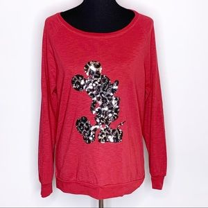 Disney red Mickey Mouse sequin long sleeve top XL